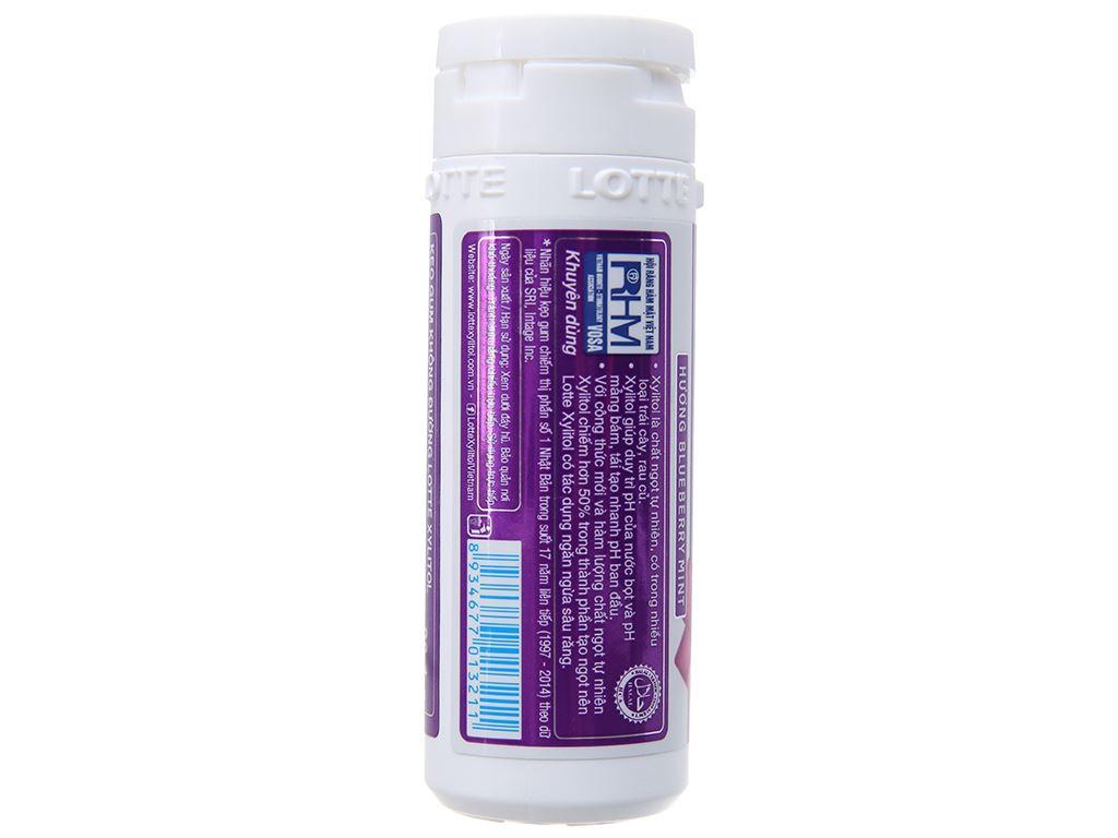 Kẹo gum không đường Lotte Xylitol hương Blueberry Mint hũ 26.1g 2