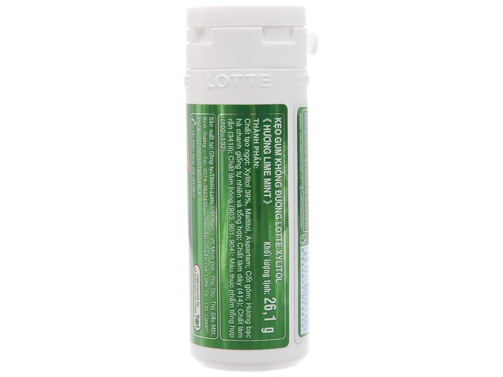 Kẹo gum không đường Lotte Xylitol hương Lime Mint hũ 26.1g 2