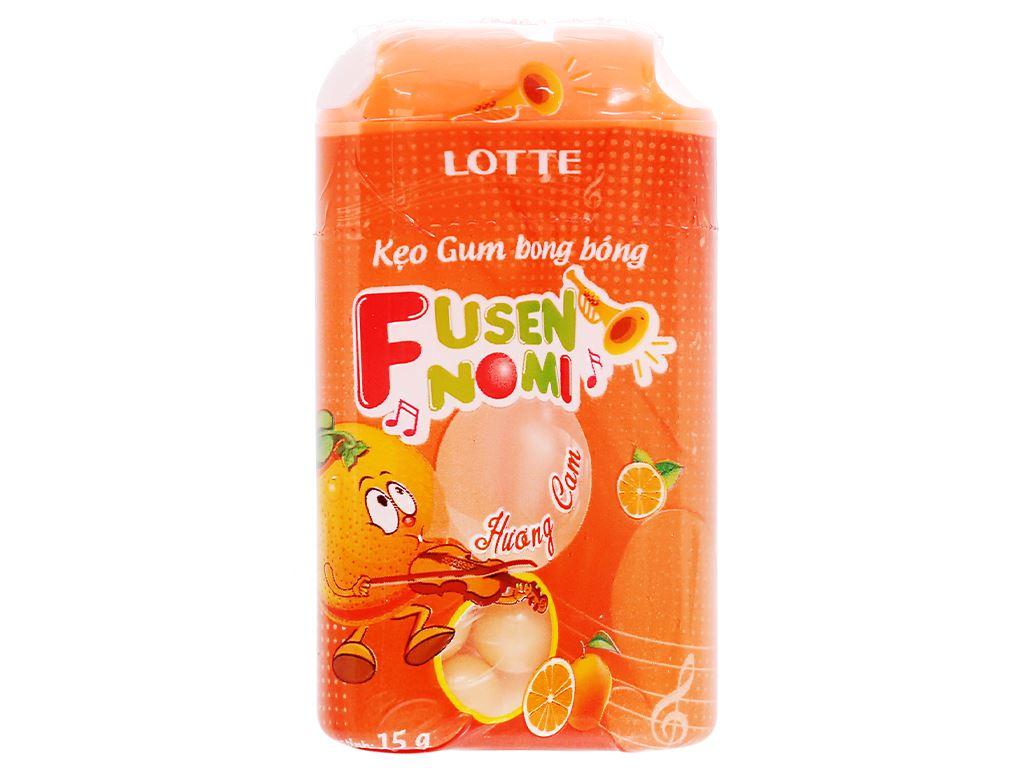 Kẹo gum bong bóng Lotte Fusen Nomi hương cam hũ 15g 2