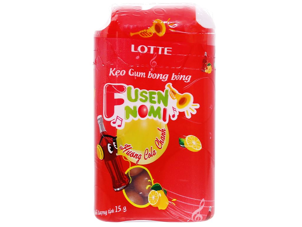 Kẹo gum bong bóng Lotte Fusen Nomi hương cola chanh hũ 15g 2