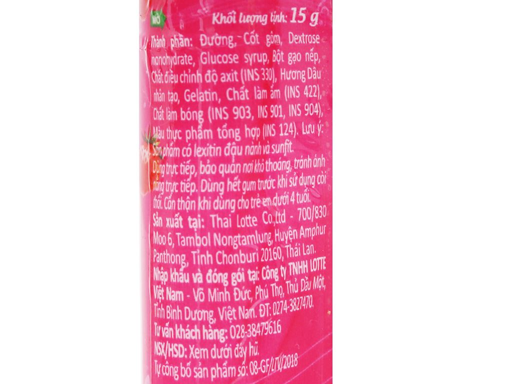 Kẹo gum bong bóng Lotte Fusen Nomi hương dâu hũ 15g 5