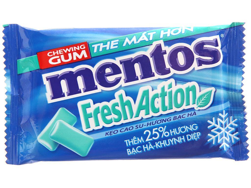 Kẹo cao su Mentos Fresh Action hương bạc hà vỉ 11g 1