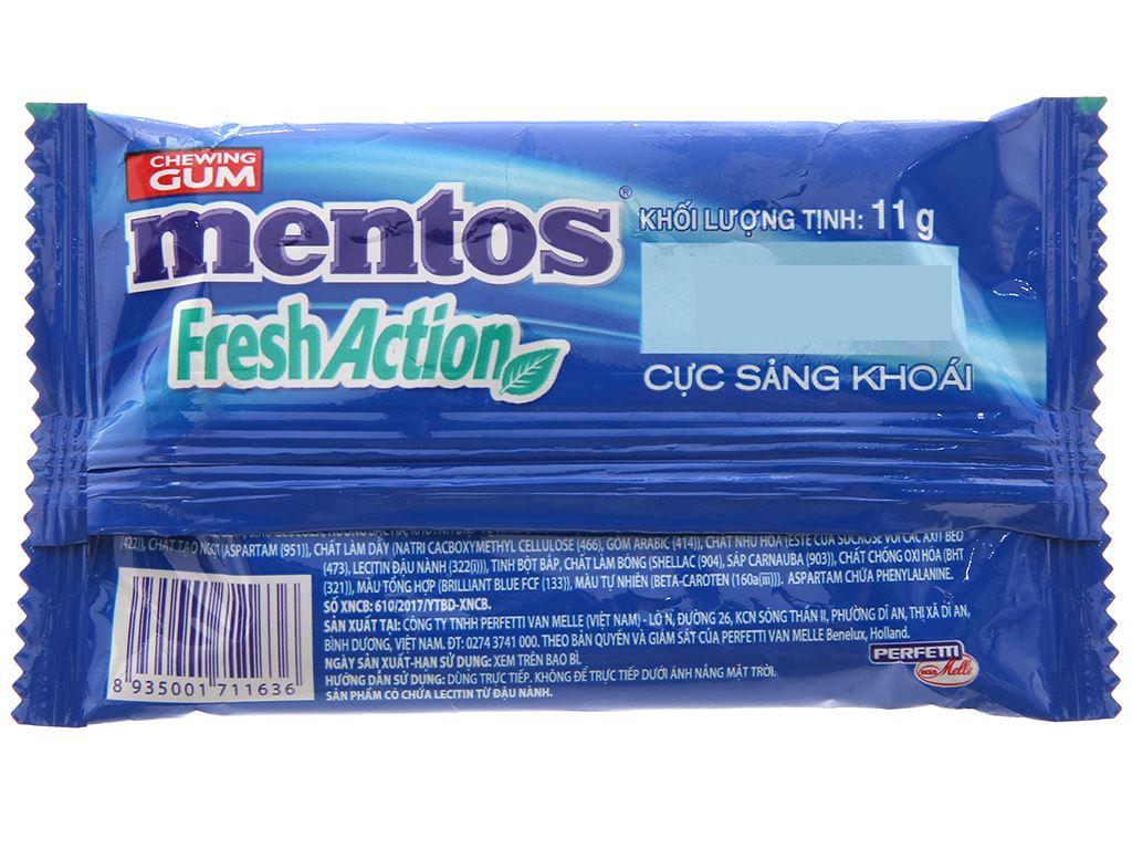 Kẹo cao su Mentos Fresh Action hương bạc hà vỉ 11g 2