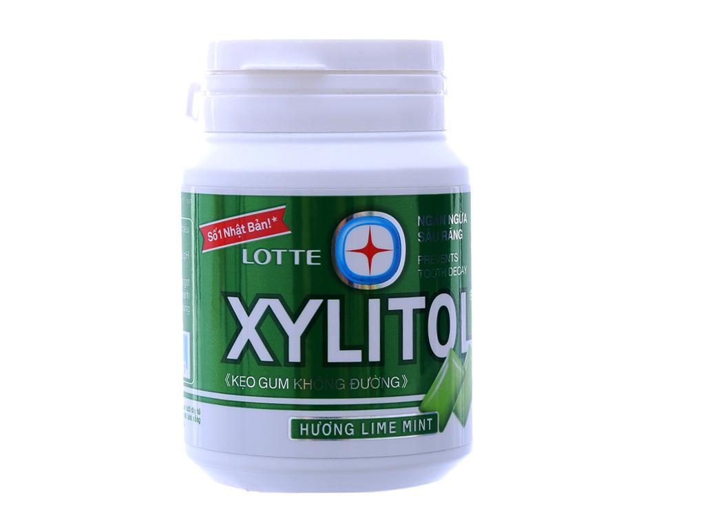 Kẹo gum không đường Lotte Xylitol hương Lime Mint hũ 58g 2