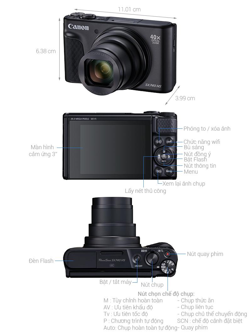 Thông số kỹ thuật Máy ảnh Compact Canon Powershot SX740 HS