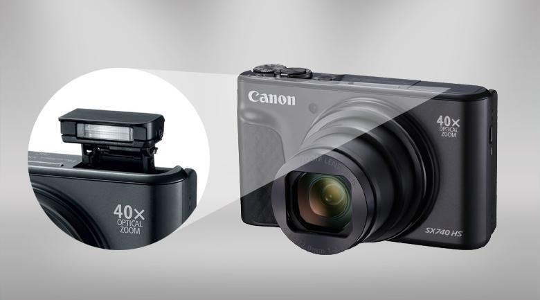 Đèn flash ẩn tinh tế - Máy ảnh Compact Canon Powershot SX740 HS