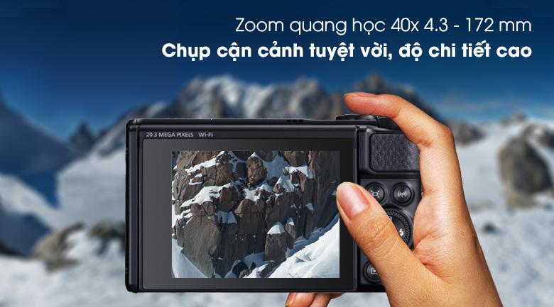 Ống kính zoom quang học đến 40x 4.3 - 172 mm - Máy ảnh Compact Canon Powershot SX740 HS