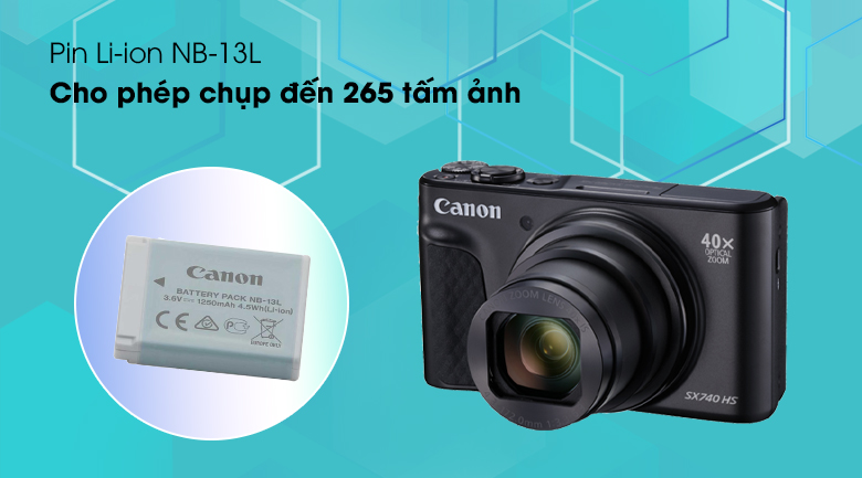 Chụp khoảng 265 tấm ảnh với viên pin Li-ion NB-13L - Máy ảnh Compact Canon Powershot SX740 HS