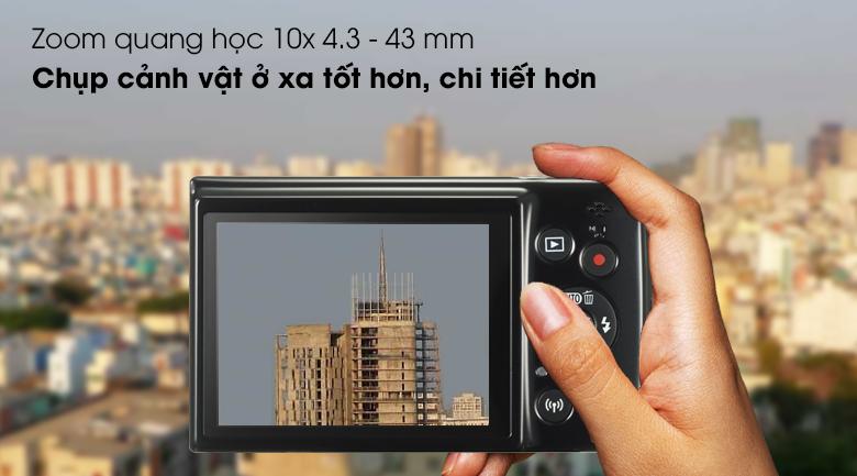 Zoom quang học 10x chụp vật ở xa chi tiết hơn - Máy ảnh Compact Canon Ixus 190