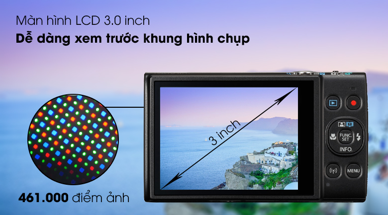 Màn hình LCD 3 inch với khoảng 461.000 điểm ảnh - Máy ảnh Compact Canon Ixus 285