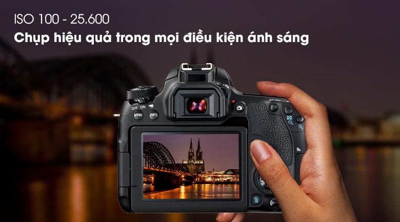 ISO 100 - 25.600 chụp tốt trong mọi điều kiện ánh sáng - Máy ảnh DSLR Canon EOS 77D 18-135 IS STM