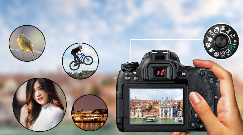 Đa dạng chế độ chụp và hỗ trợ quay phim Full HD - Máy ảnh DSLR Canon EOS 77D 18-135 IS STM