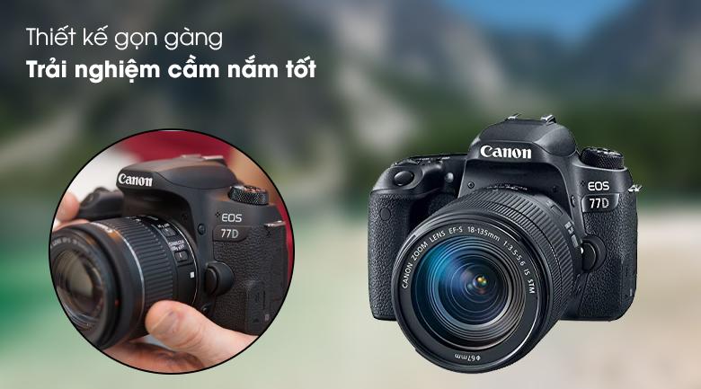 Thiết kế chắc chắn, hiện đại và gọn gàng - Máy ảnh DSLR Canon EOS 77D 18-135 IS STM