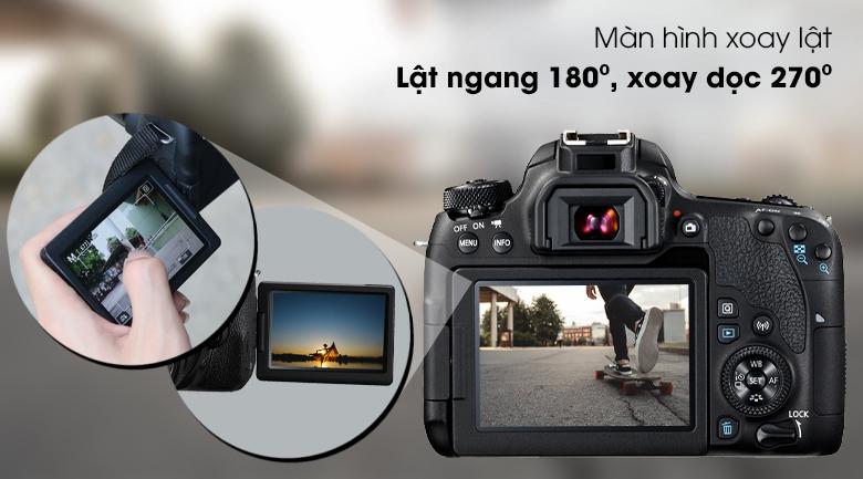 Màn hình LCD 3.0 inch cảm ứng có thể xoay lật 270⁰ - Máy ảnh DSLR Canon EOS 77D 18-135 IS STM