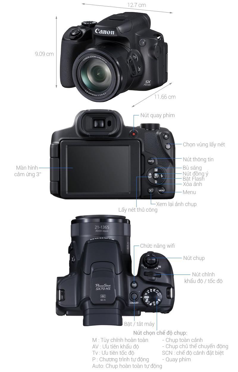 Thông số kỹ thuật Máy ảnh Compact Canon Powershot SX70HS