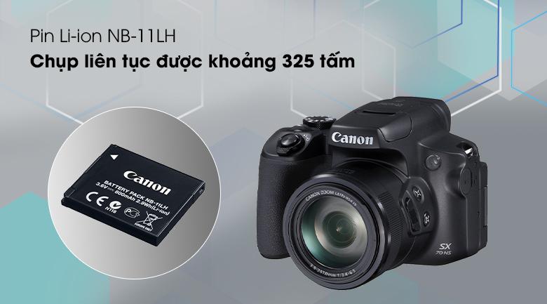 Thời lượng pin ấn tượng, có thể chụp được đến khoảng 325 tấm ảnh - Máy ảnh Compact Canon Powershot SX70HS