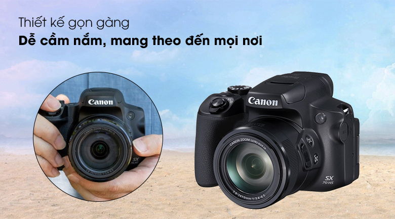 Thiết kế gọn gàng, dễ cầm nắm - Máy ảnh Compact Canon Powershot SX70HS