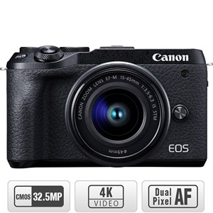Máy ảnh Canon EOS M6 Mark II Kit 15-45 mm Đen