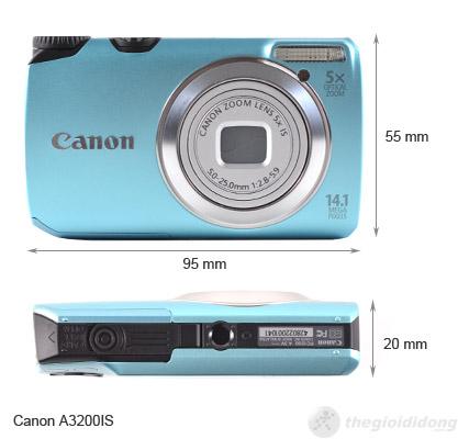 Kích thước của Canon PowerShot A3200 IS