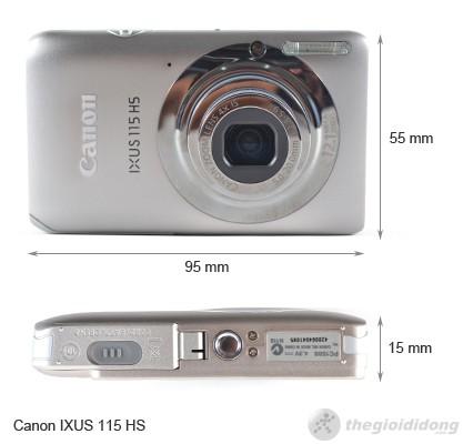 Kích thước của Canon IXUS 115 HS
