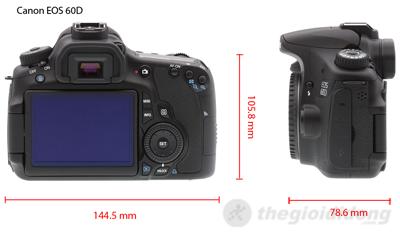 Kích thước của Canon EOS 60D