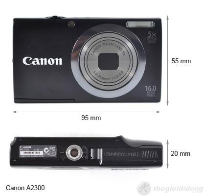 Kích thước của Canon PowerShot A2300