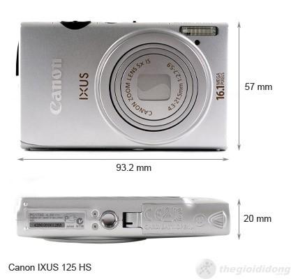 Kích thước của Canon Ixus 125 HS