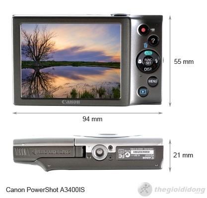 Kích thước của Canon PowerShot A3400 IS