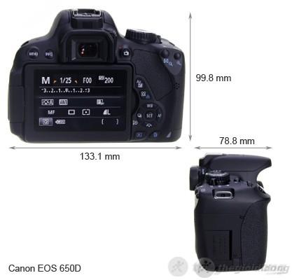 Kích thước của Canon EOS 650D