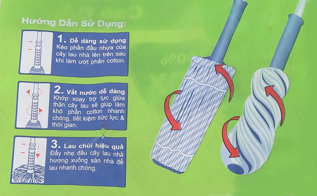Cây lau nhà inox mâm nhựa Omega TH2