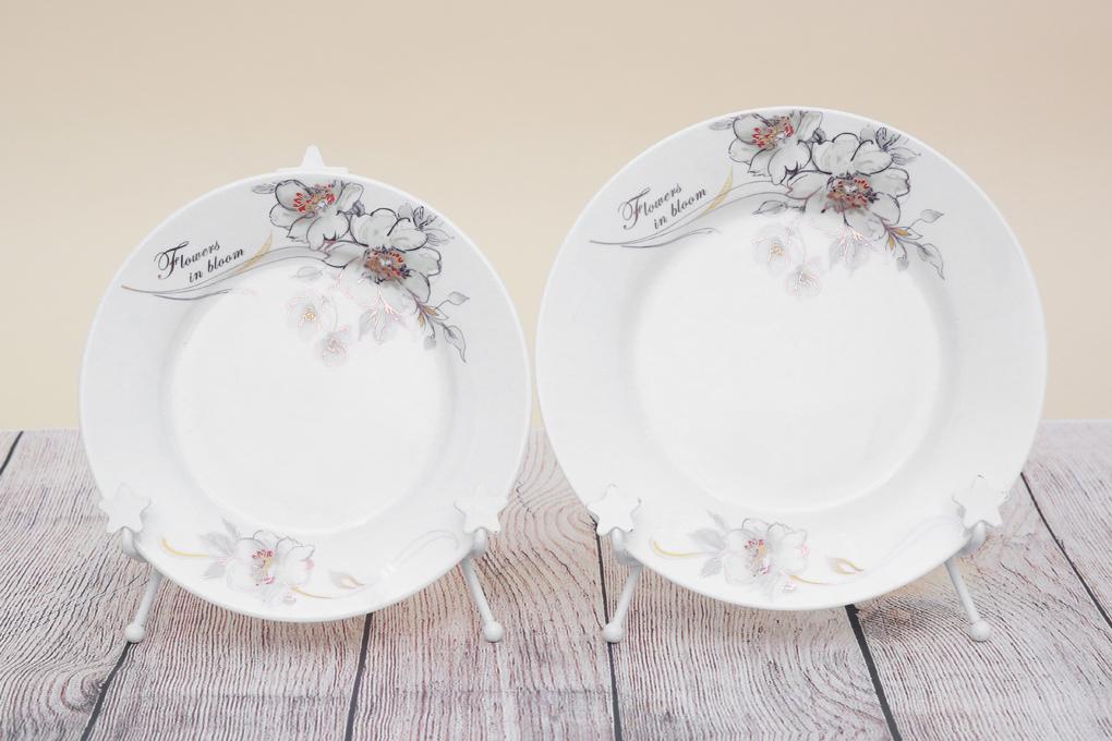 Dĩa lớn 20 cm, dĩa trung 18 cm thích hợp đựng các món xào, chiên - Bộ bàn ăn gốm sứ Minh Châu 28 món BQ28 - hoa 7