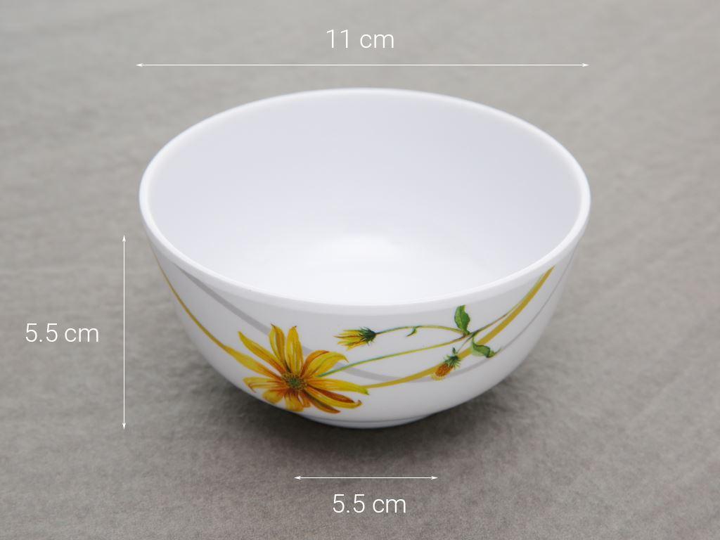 Chén cơm nhựa melamine Vinh Cơ AC06 hoa cúc vàng 5