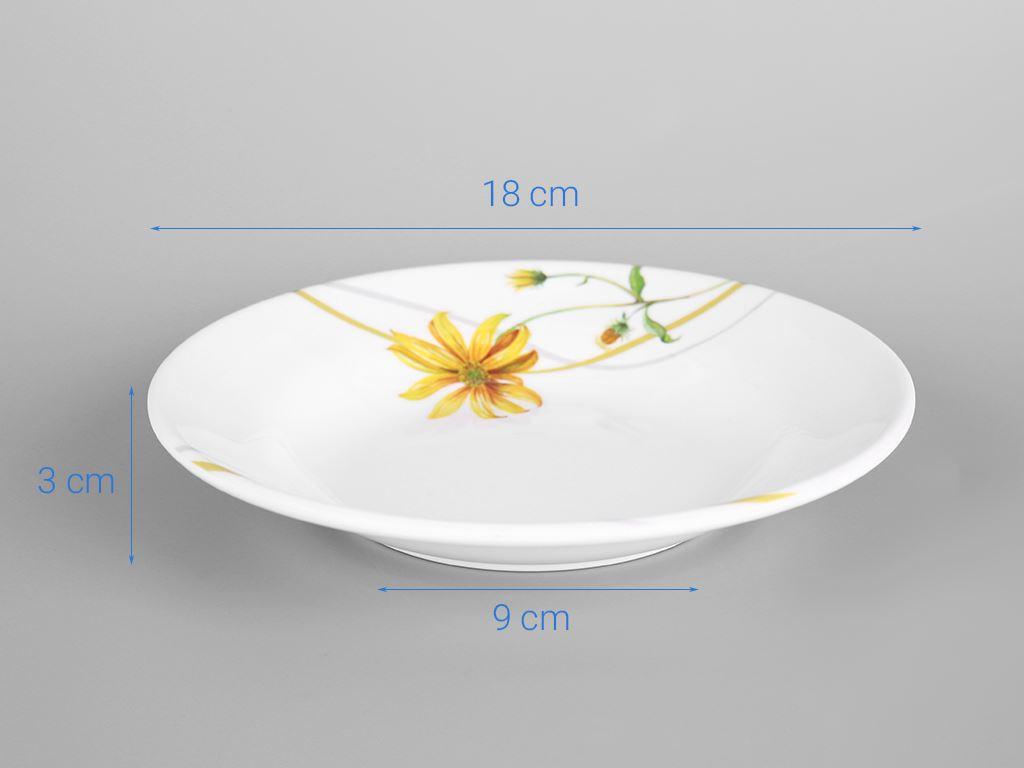 Dĩa nhựa melamine sâu Vinh Cơ A5207 hoa cúc vàng 5