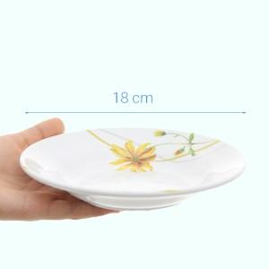 Dĩa nhựa melamine sâu Vinh Cơ A5207 hoa cúc vàng