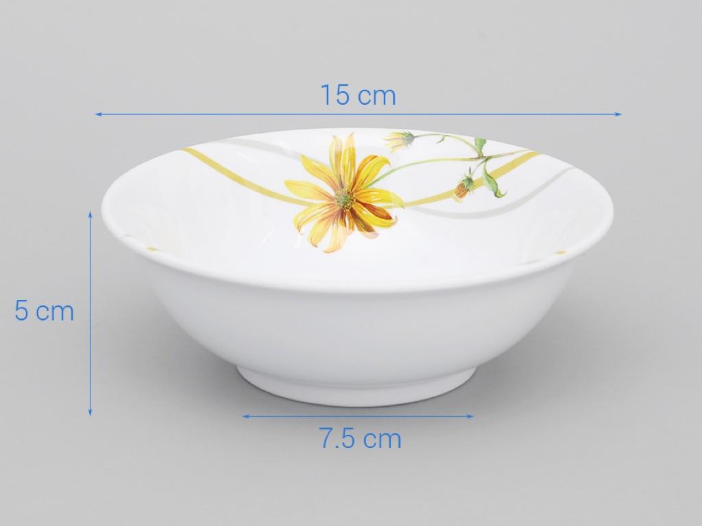 Tô nhựa melamine Vinh Cơ A406 hoa cúc vàng 4