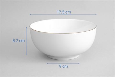 Tô canh sứ 17.5 cm Minh Châu MC-TH07 viền vàng thật 12K 17.5 cm