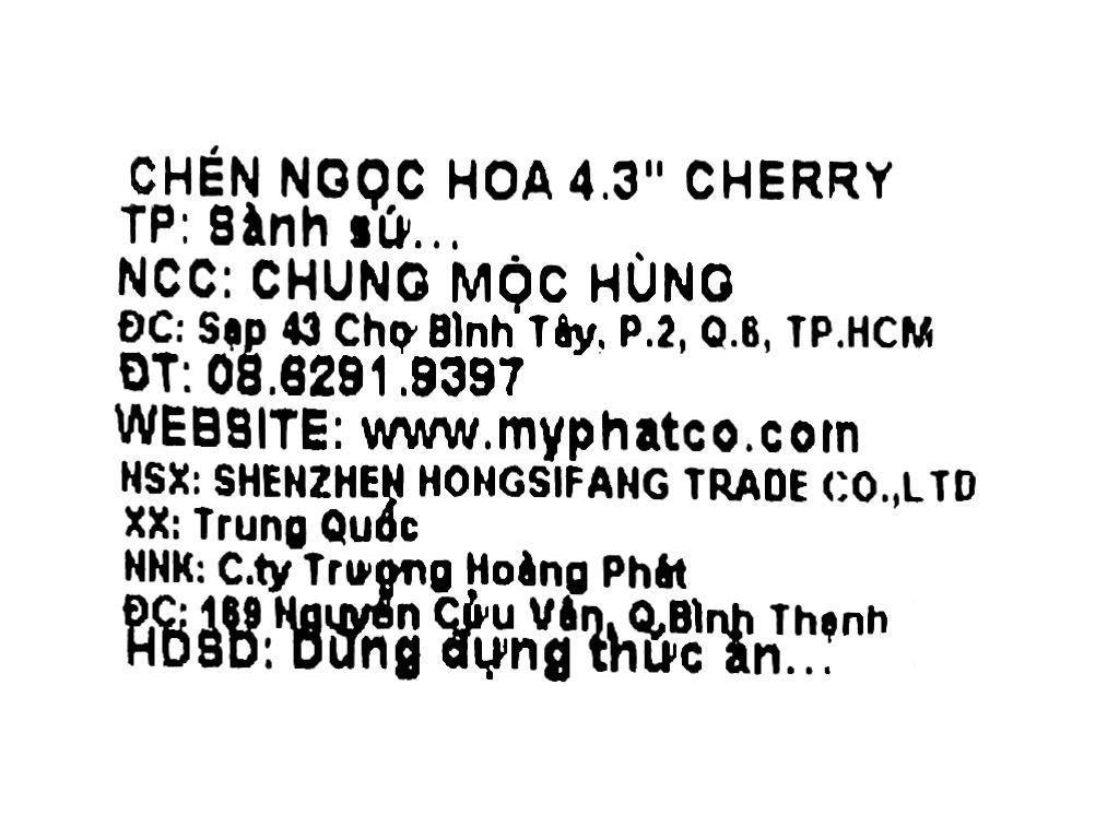Chén cơm sứ Chung Mộc Hùng 10.9cm 2