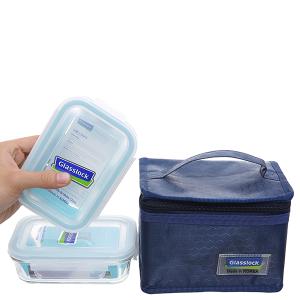 Bộ 2 hộp cơm thủy tinh 400 ml Glasslock và túi giữ nhiệt