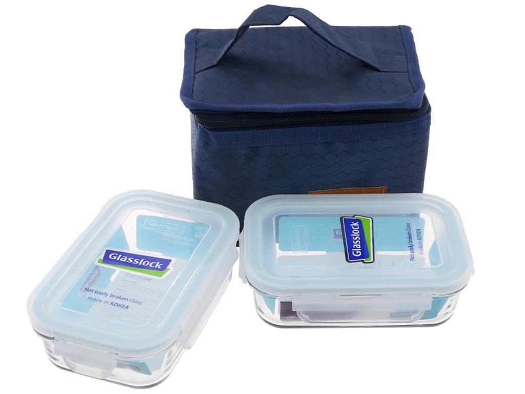 Bộ 2 hộp cơm thủy tinh 400 ml Glasslock và túi giữ nhiệt 1