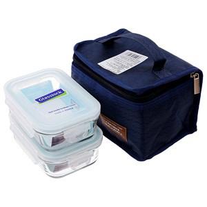Bộ 02 hộp thủy tinh chữ nhật  400ml + túi giữ nhiệt Glasslock Lunch set 2