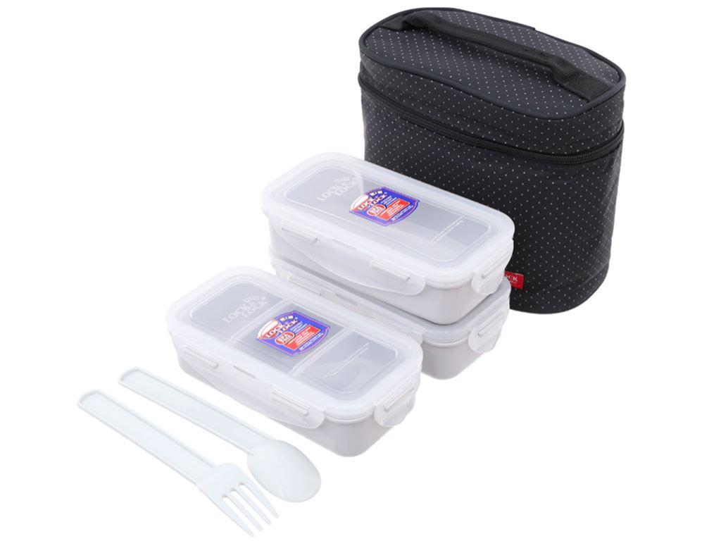 Bộ 3 hộp nhựa chữ nhật Lock&Lock HPL754DB và túi giữ nhiệt 1