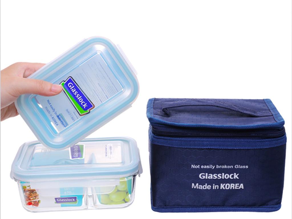 Bộ 2 hộp thủy tinh chữ nhật Glasslock và túi giữ nhiệt 1