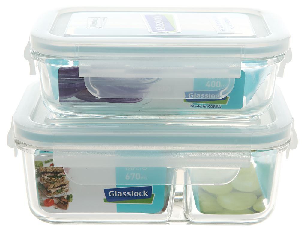 Bộ 2 hộp thủy tinh Glasslock Lunch Set 02-2 11