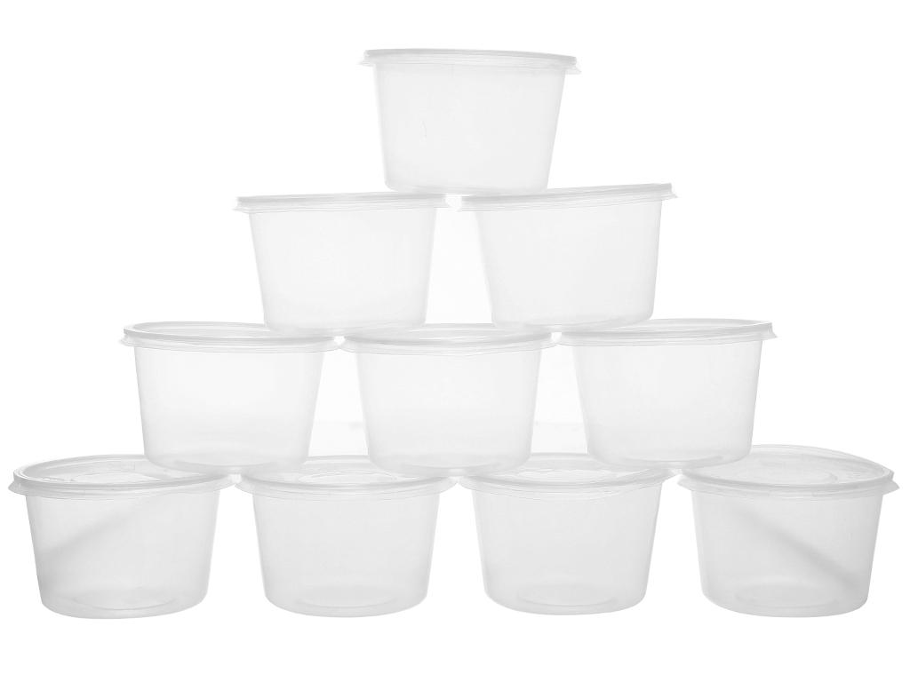 Bộ 10 hộp nhựa tròn Terasu 600ml 1