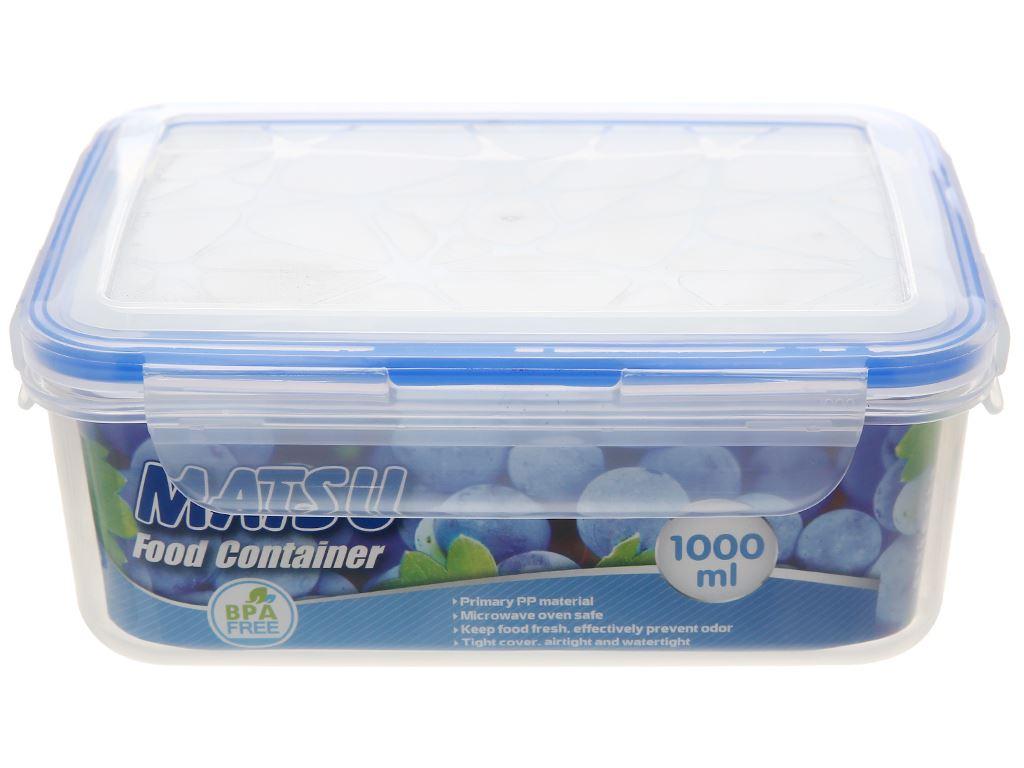 Hộp nhựa chữ nhật Matsu 1 lít 1