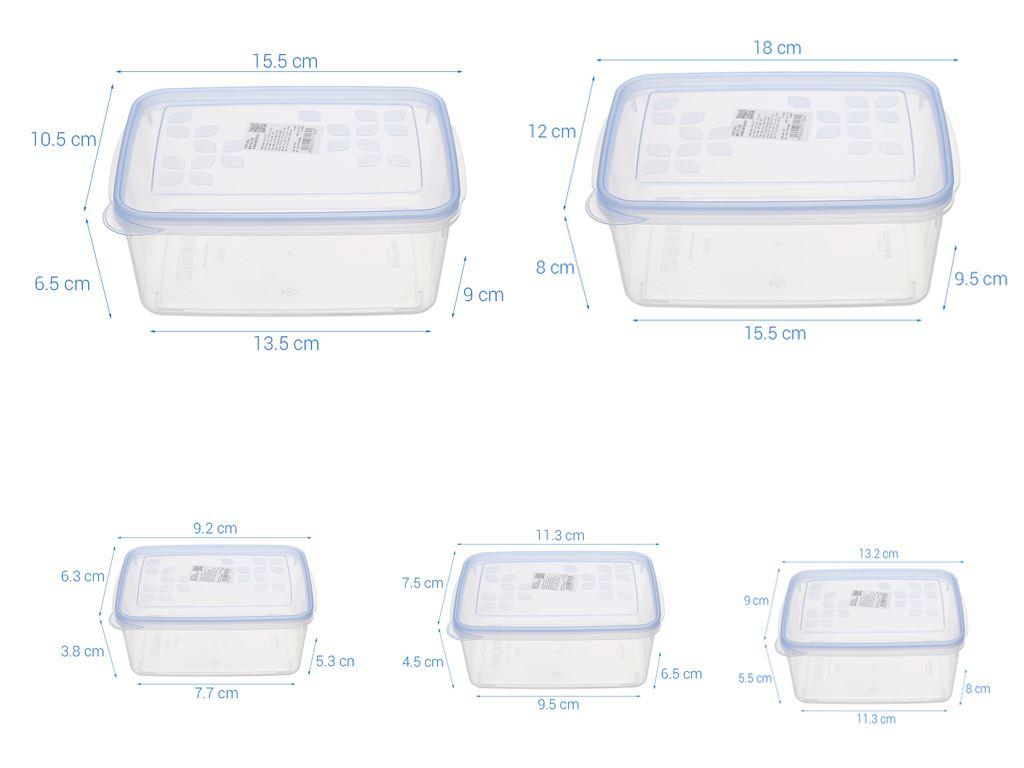 Bộ 5 hộp nhựa chữ nhật Matsu B04 (giao màu ngẫu nhiên) 18