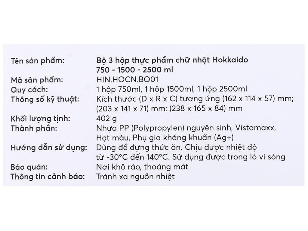Bộ 3 hộp thực phẩm nhựa PP Inochi 750, 1500, 2500 ml (giao màu ngẫu nhiên) 9