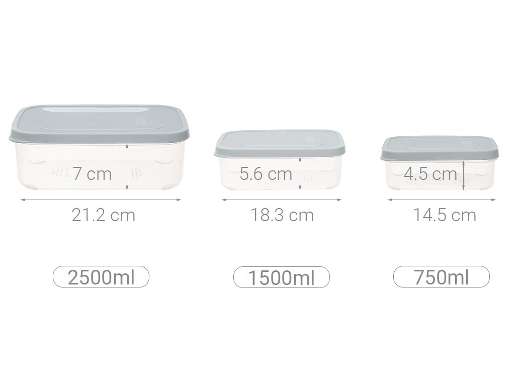 Bộ 3 hộp thực phẩm nhựa PP Inochi 750, 1500, 2500 ml (giao màu ngẫu nhiên) 10