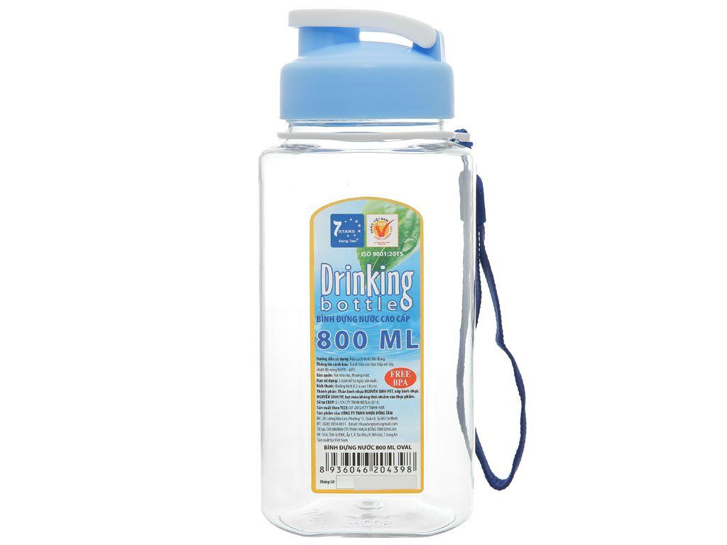 Bình đựng nước cao cấp nhựa oval 800 ml Đồng Tâm (giao màu ngẫu nhiên) 1