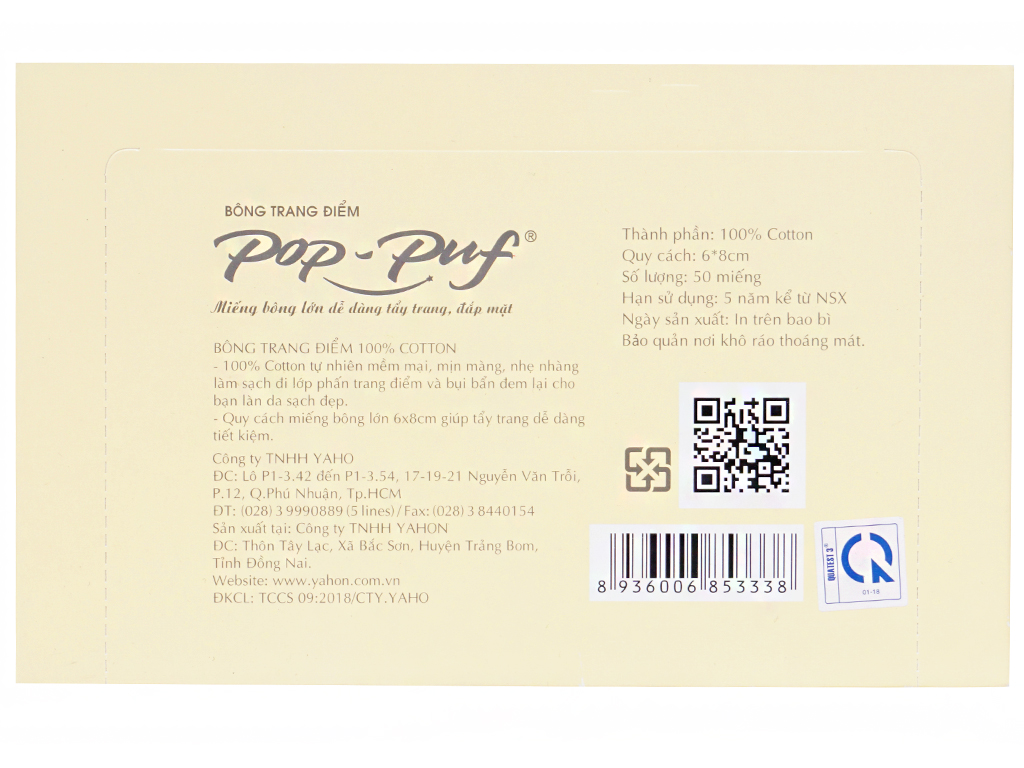 Bông trang điểm PoP-Puf không ép biên 50 miếng 2